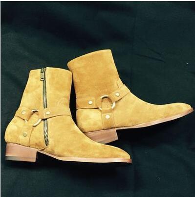 جديد 2017 سلاسل الرجال الأحذية الشقق مكدسة كعب جلد الغزال anke الأحذية الجانب البريدي الرجال الأزياء الغربية الأحذية الأحذية زائد حجم 39-46