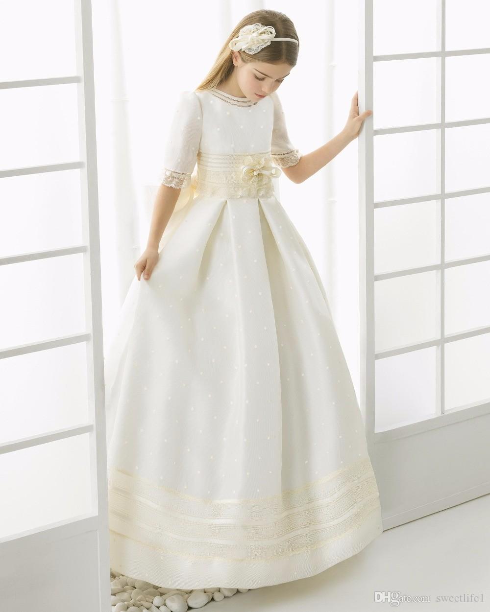 2019 Kızlar Için İlk Communion Elbiseler Saten Dantel Balo Kıyafeti Yarım Kollu Çiçek Kız Elbise Düğün Kızlar Pageant Elbiseler Için