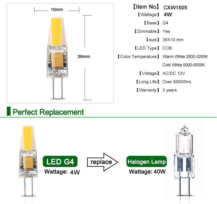 Dimmable led bulb spotlights 2watt 4 watt COB g4 led light bulb for Chandelier lights Indoor decoration warm white day white