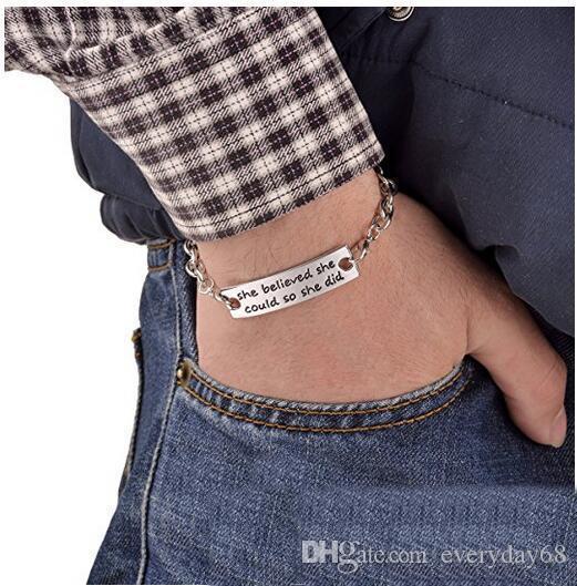 Mode Edelstahl Armbänder Sie glaubte, sie könnte, so tat sie inspirierende Hand gestempelt Manschette Metallarmband für Frauen, Damen, Mädchen