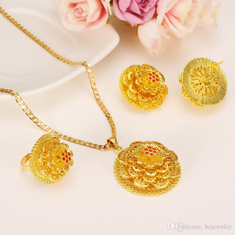 2019 Ethiopian Gold Jewelry Set Pendant Necklaces Earring
