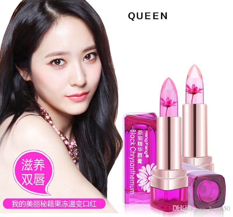 HengFang Fashion Magic Temperature Change Color Moisturizer Lips Balm Transparent Flower Jelly Baby Lips Lipstick Makeup H9266