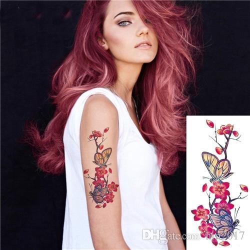 Fiori di ciliegio realistici 3D rosa grandi fiori Impermeabili tatuaggi temporanei tatuaggi tatuaggio tatuaggio spalla braccio flash donne