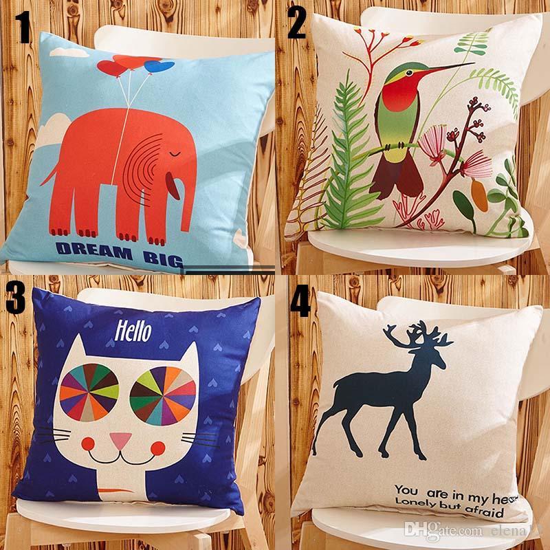 Gato dos desenhos animados Elefante pássaro veado cão animal Série Throw Pillow Sofá carro Escritório De Volta Almofada Do Quarto Do Bebê Decorativo 300697