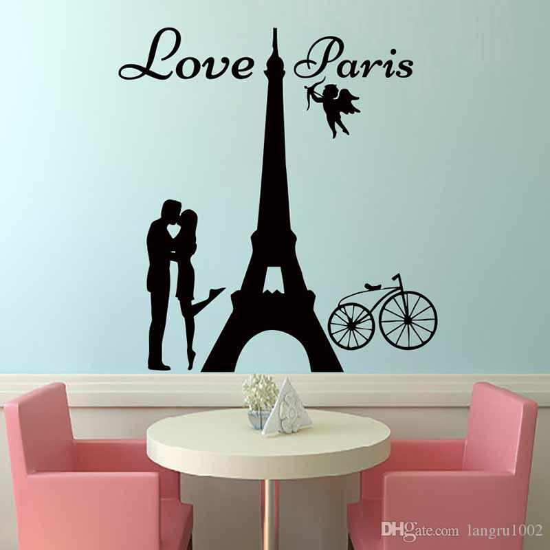 new design angels love paris wall decals lover kissing and bike home