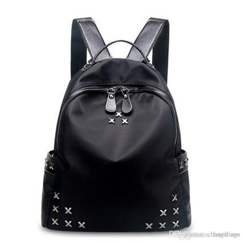 0db2290d2b3 Fashion Ladies Backpacks Designer Nylon Oxford Cloth Backpacks Luxury  Handbags Women Fashion School Bags Rivet Backpack Style Totes Sale