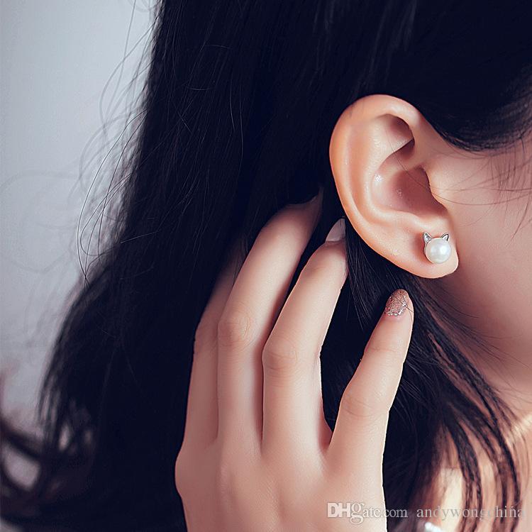 Luxe Belle Chat boucles d'oreilles Date Imitation Perle Chat Boucles D'oreilles Bijoux pour Femmes Fille Minimaliste Cool Perle Boucles D'oreilles Cadeau De Noël