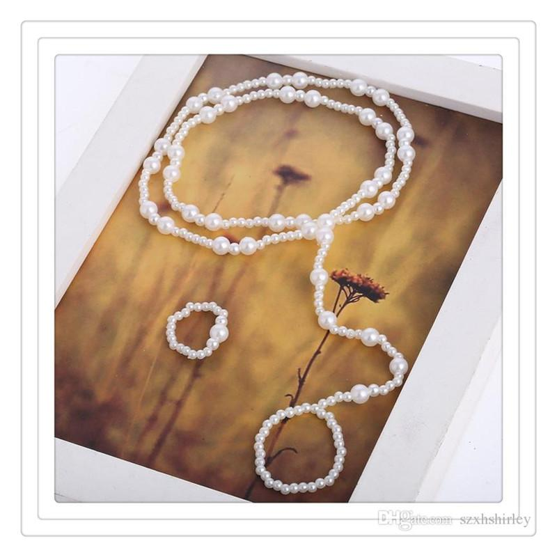 Fashion Toe Rings Women Beach Jewelry Imitation Pearl Barefoot Sandal Foot Jewelry Anklet Chains Crystal Foot Jewelry