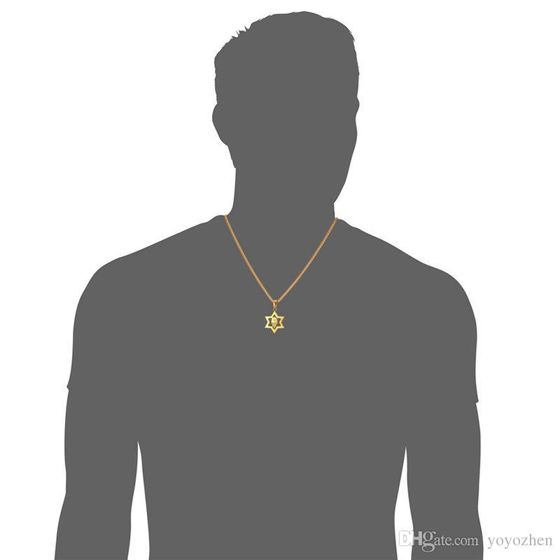 Звезда Давида кулон для женщин мужчины ювелирные изделия 18k реального позолоченный из нержавеющей стали Хамса рука повезло ожерелье кулон