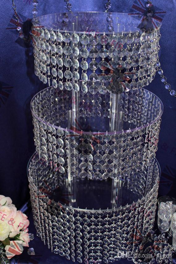 3 слоя Хрустальная Люстра Стенд Свадебный Торт Акриловые Кристаллы И Слезы Подвески Кондитерские Тарелки