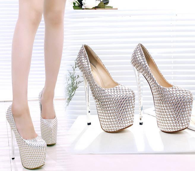 19cm Super High Heels Spring & Summer Women Pumps Peep Toe Leather Platform Sequined Sexy Women Pumps Club Party Charm Women High Heels