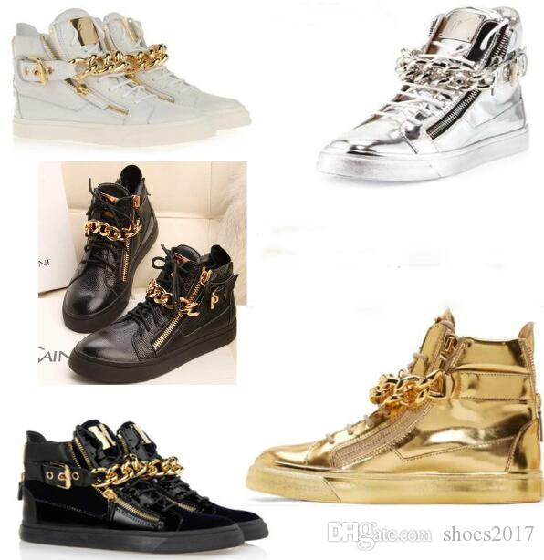 Trend Cheap Name Brand Sneakers Gold Buckle Design Mens