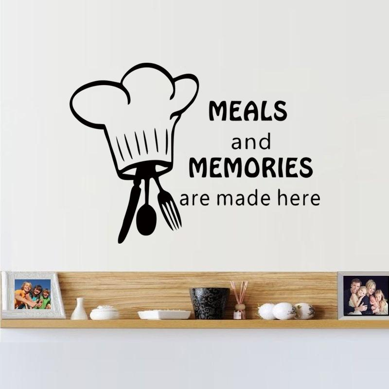 2017 Hot Sale Funny Chef Hat Spoon Folk And Knife Wall Sticker For Kitchen Wall Decal Diy