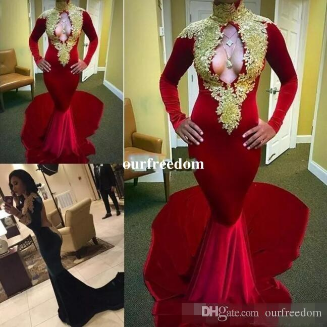 2019 New Designs Long Sleeves Red Sexy Mermaid Velvet Evening Dresses Long Keyhole Gold Lace Applique African Prom Dress Party 2k17 2k15