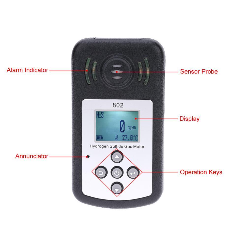 Freeshipping Display LCD professionale Analizzatore di gas di idrogeno solforato Analizzatore di gas Analizzatore di gas Rilevatore di temperatura Misura allarme Valore impostabile