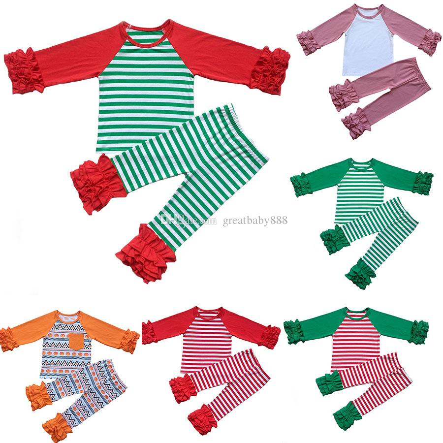 Thanksgiving Christmas Children Girls Clothing Sets Ruffle Top+pants ...