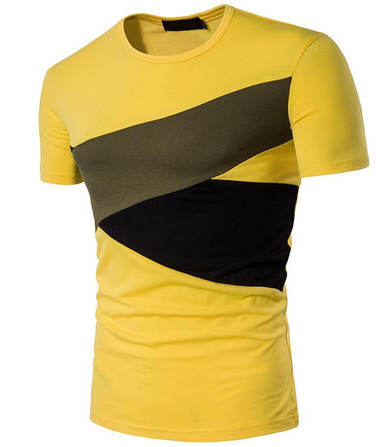 Koszulka z krótkim rękawem Koszula Mężczyźni Mężczyzna O Neck Szycie Kolor Krótki Styl Slim Fit Dla Man Casual Tshirt Bezpłatny statek Bawełna Wygodne 2021