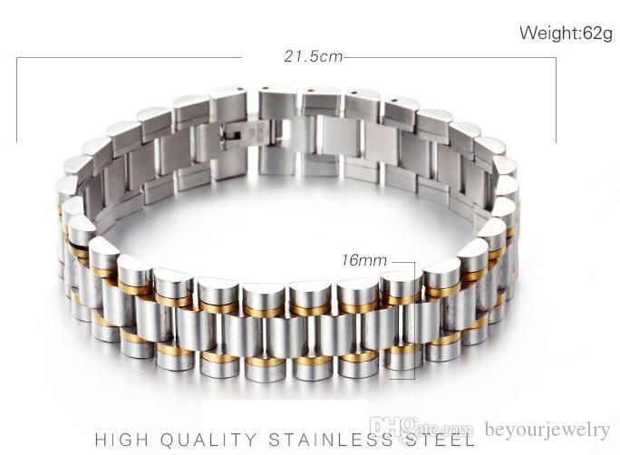 Watch Band Strap Style 16mm Width Stainless Steel Two Tones Gold Plated Wristband Link Men's Elegency Noble Bracelet,Free Drop Shipping