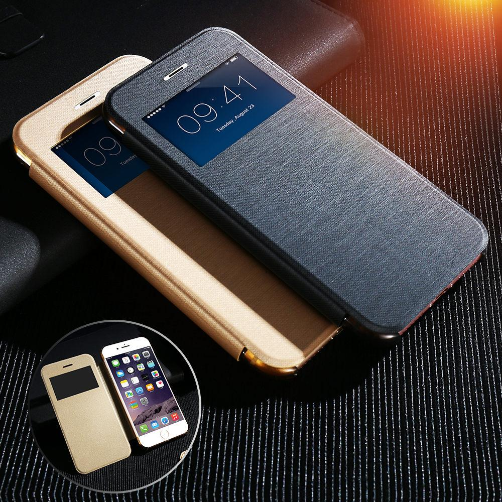 Phone Cases Window View Leather Case For iPhone 6 6S Plus Flip Cover Bags