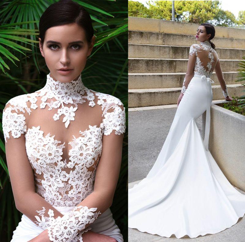Long sleeved sheath wedding dresses 2017 crystal design for Long sleeve wedding dress topper