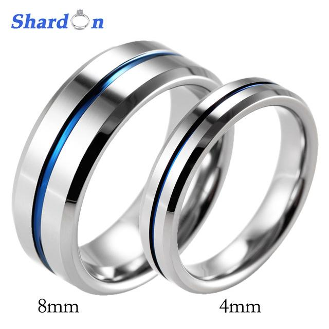 de4b4b3fae3 SHARDON Lover S Beveled Tungsten Carbide High Polished Wedding Band Ring  Blue Line Engagement Ring Wedding Band For Couples Mens Engagement Rings  Emerald ...