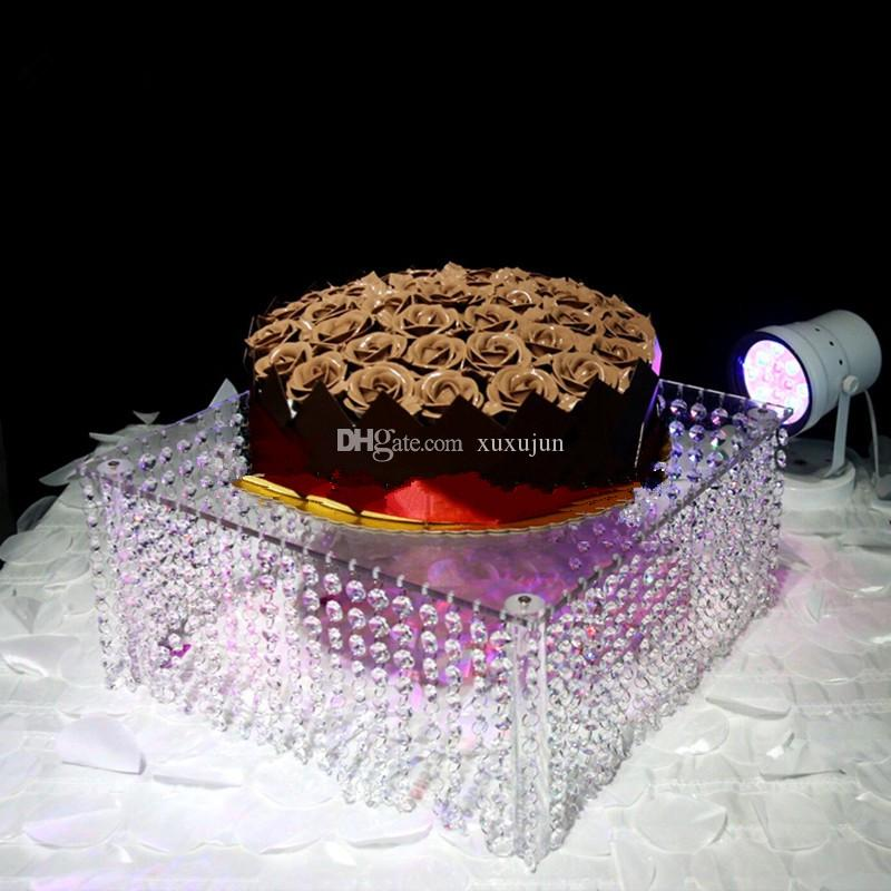wedding centerpiece including the LED ,Table Centerpiece/wedding glass crystal cake stand,Round 16 inch: 40*20 cm ,Square 20 inch: 50*50*30
