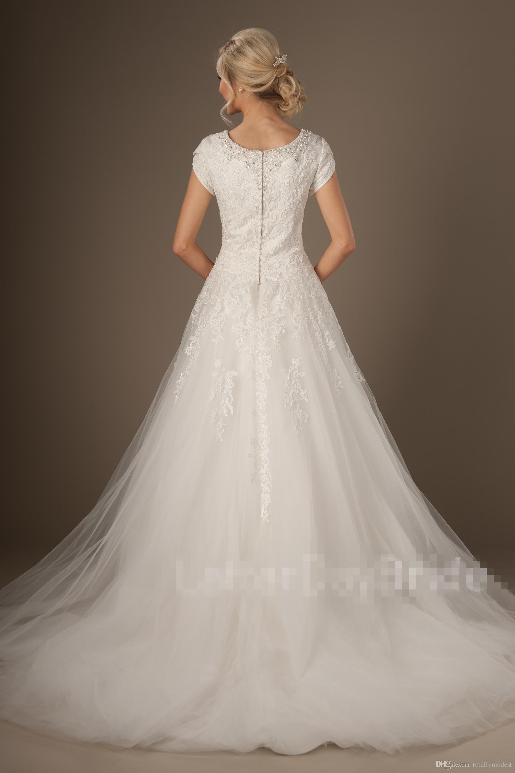 Nuovi abiti da sposa modesti maniche scollo a perline bottoni indietro appliques di pizzo una linea di tulle country abiti da sposa occidentali su misura