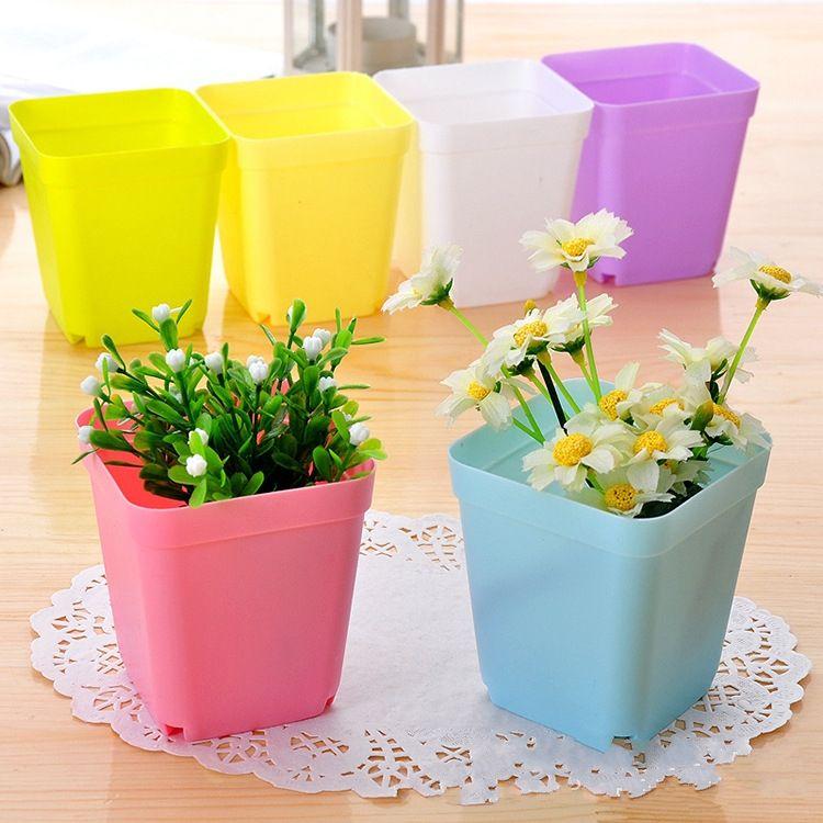 Bonsai Planters Plastic Table Mini Succulents Plant Pots and Plate Gardening Vase Square Flower Pot Colorful #WS37