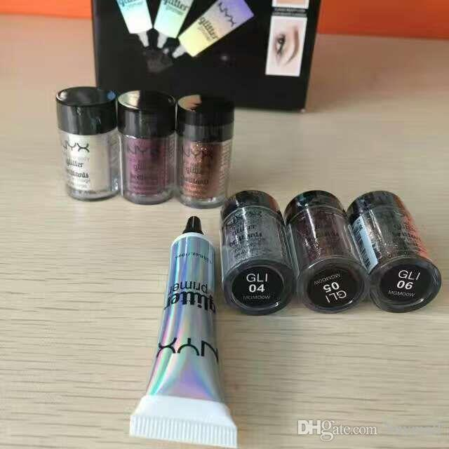 High Quality NYX Face and body glitter powder pigment with primer for eyeshadow available New in box DHL free Glitter Cosmetics