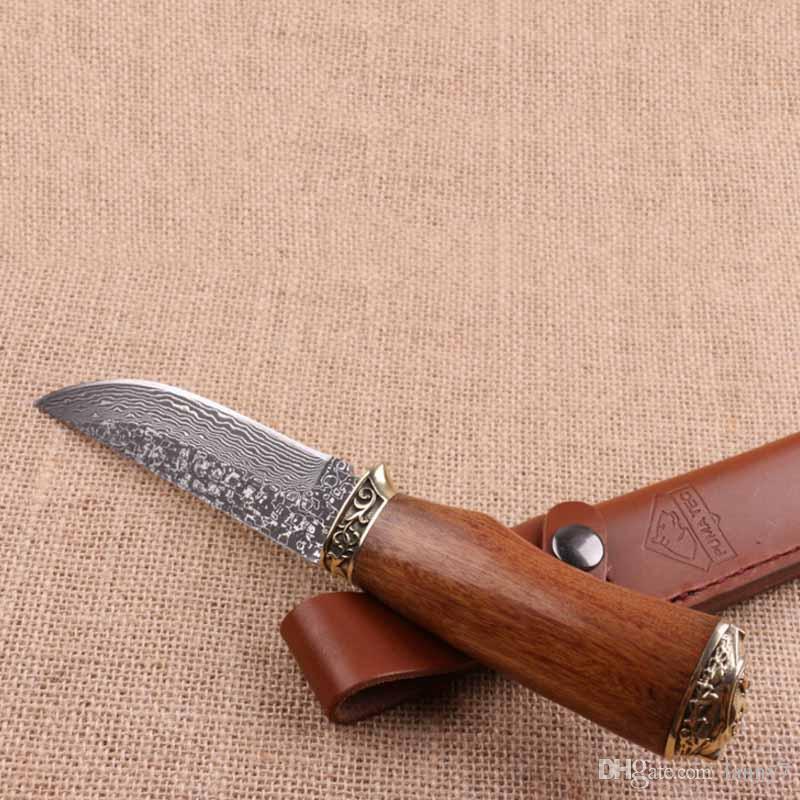 Promozione Coltello da caccia in acciaio di Damasco Coltello da caccia in palissandro naturale Caccia da campeggio all'aperto Pesca Coltello a lama fissa Miglior regalo