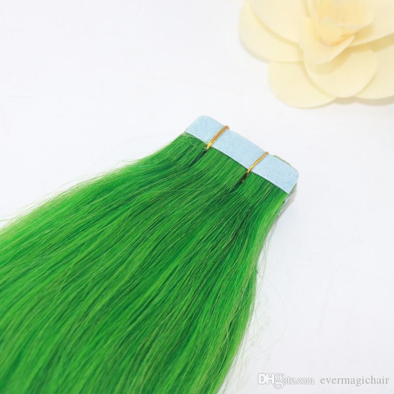 머리 확장 / set에 옥 녹색 레미 스트레이트 테이프 피부 Weft에서 원활한 PU 테이프 저렴 한 인간의 머리카락