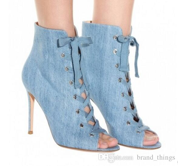 2017 Fashion Light Blue Denim Boots
