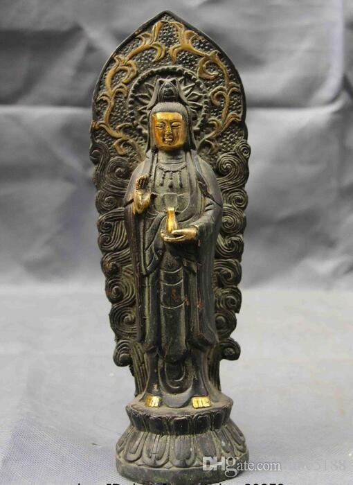 8 Chinese Folk Copper Bronze Gild Guan Yin Kwan-yin Boddhisattva Goddess Statue