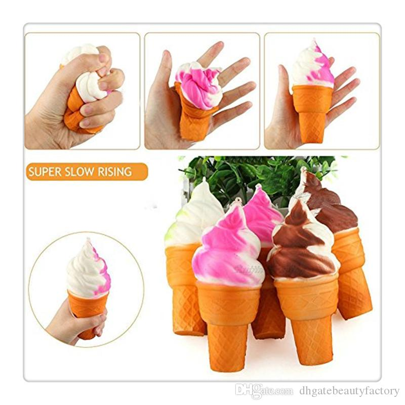 Free DHL New Kawaii Squishies Ice Cream Squishy Phone Straps Soft Slow Rising Squeeze Squishies Toys Cell Phone Charms Keychain Gift
