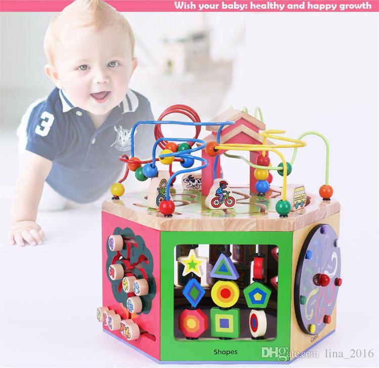 HEIßES Holzspielzeug Multifunktionale Tier Perlen Labyrinth Baby Frühes Lernen Spielzeug Uhr Blöcke Berechnung 6 Gesicht Mit Großen Box Kostenloser Versand