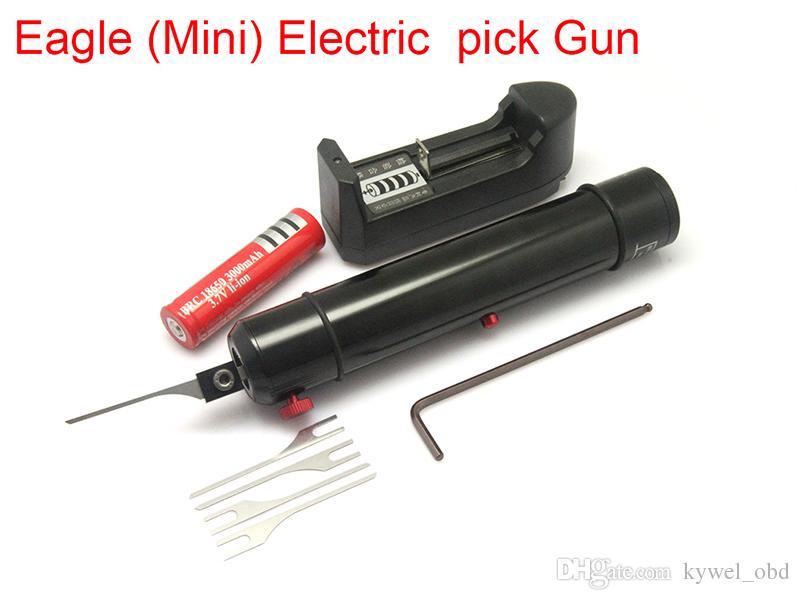 Çilingir Kilidi Pick Araçları Kartal Mini Elektrikli Pick Gun Kendinden Kelepçeli Vidalı İğne Tam Bir Ayarlanabilir Kuvvet Boyutu Küçük Hacimli Düşük Ağırlık