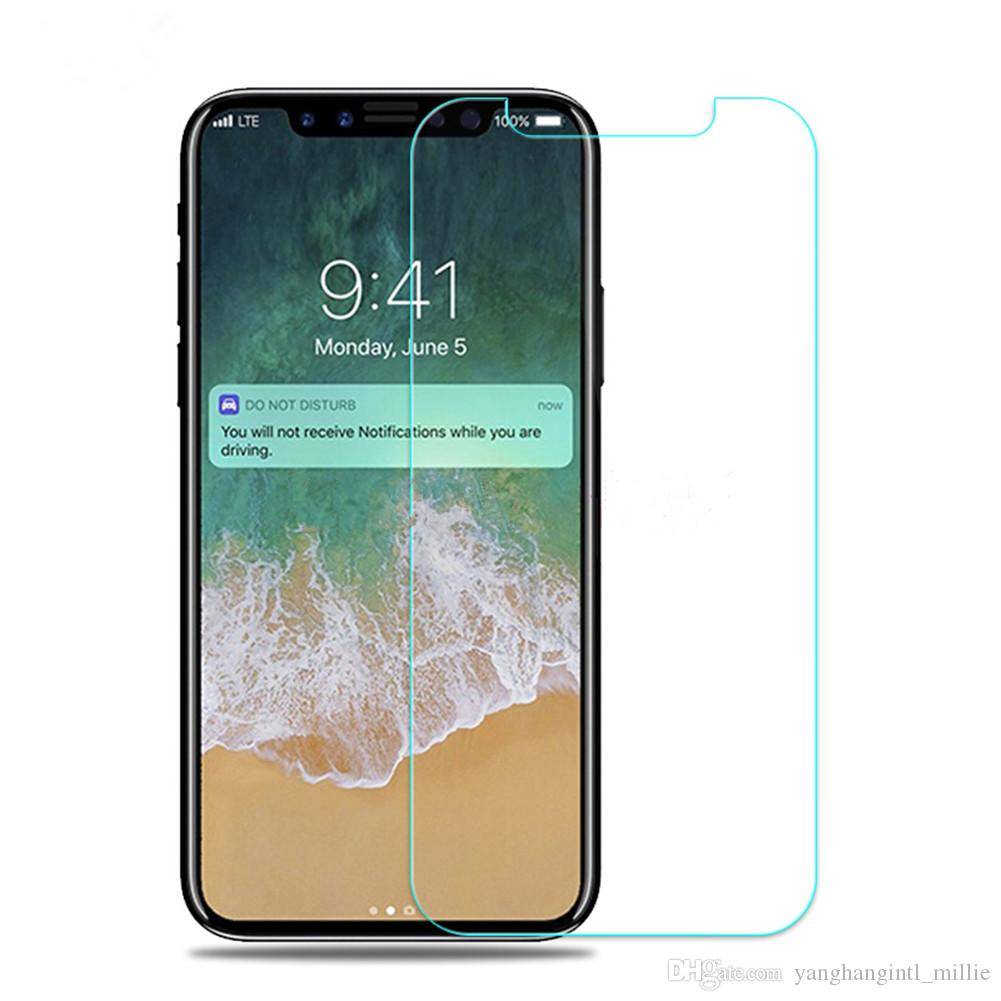 best service f70d4 adcf1 High Quality Tempered Glass Screen Protectors For Iphone X XR XS Max I6 7 8  Mixed Types Support 9H Clear 2.5D-YH0001
