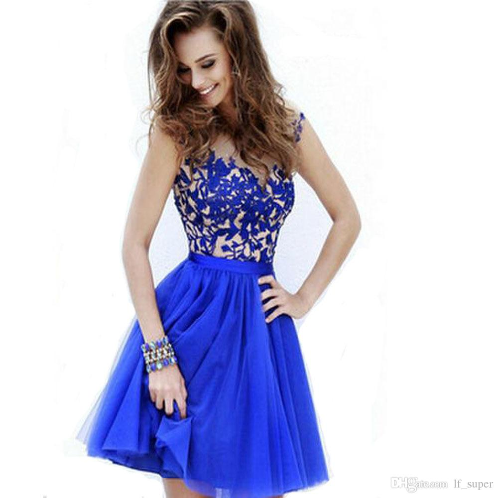 The luxury water soluble lace hollowed-out princess dresses blue color bitter fleabane skirt