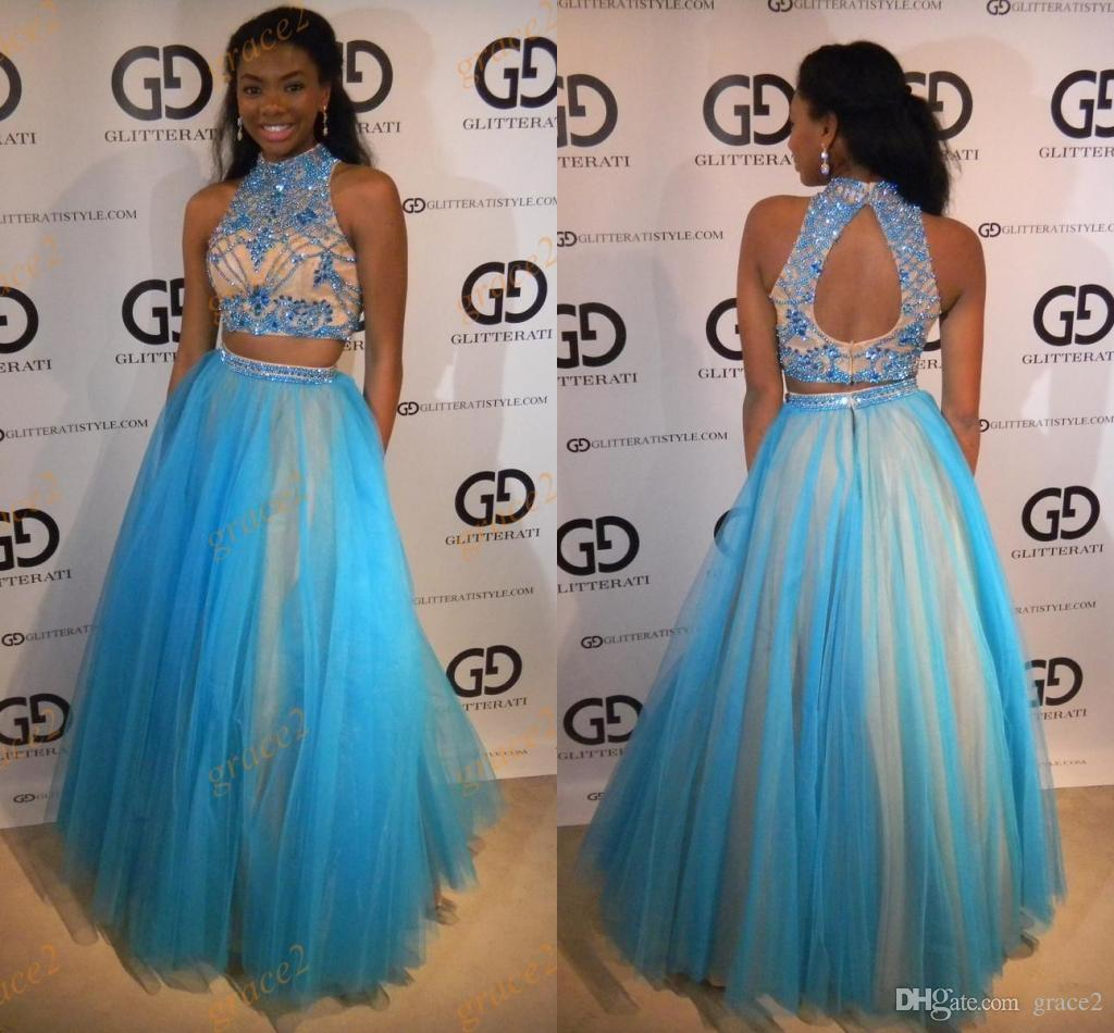 2845af319a Two Pieces Prom Dresses 2017 New Arrival With Beaded High Neck And Keyhole  Back Real Model Beading Tulle Ring Dance Dress Custom Made Modest Prom  Dresses ...