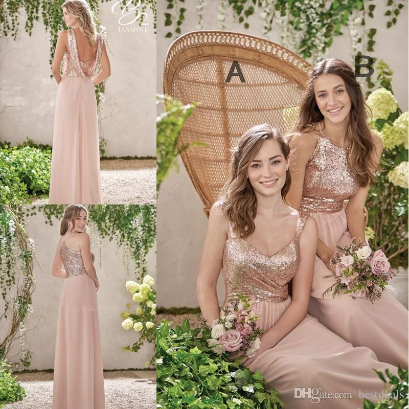 2019 New Rose Gold Bridesmaid Dresses A Line Spaghetti Backless Sequins Chiffon Cheap Long Beach Wedding Gust Dress Maid of Honor Gowns