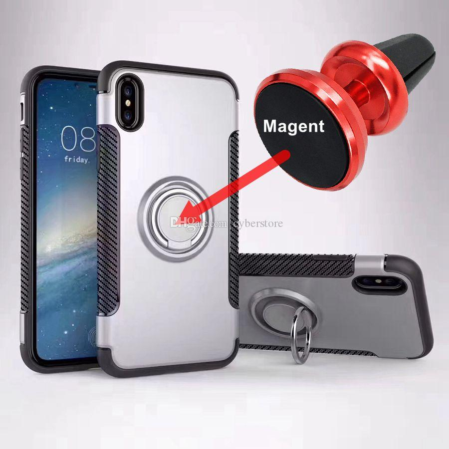 new styles d657a c3e34 For iPhone X XR X Max Armor Case Ring Holder Kickstand Phone Case  Shockproof Magnetic Car Mount Durable Rugged For iphone 6S 7