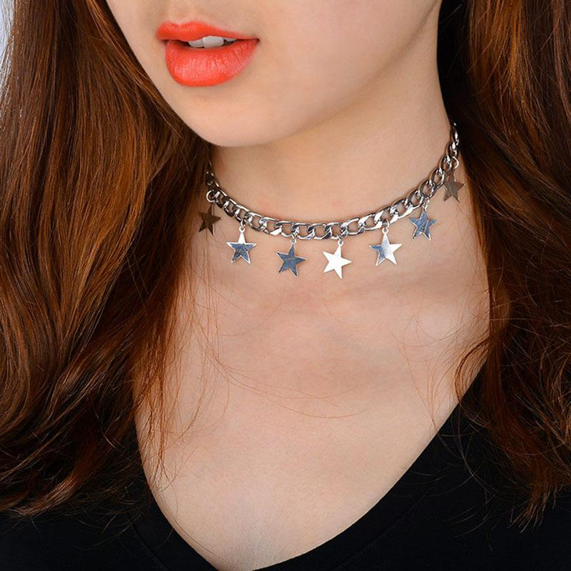 2018 2017 New Simple Stylish Chains Stars Pendant Choker Necklaces ...