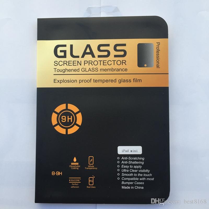 강화 유리 화면 보호기 iPad 용 미니 1 2 3, Mini4,2 3 4, 에어 AIR2 5 6 태블릿 0.3mm의 2.5D 프리미엄 클리어 방폭 필름 상자