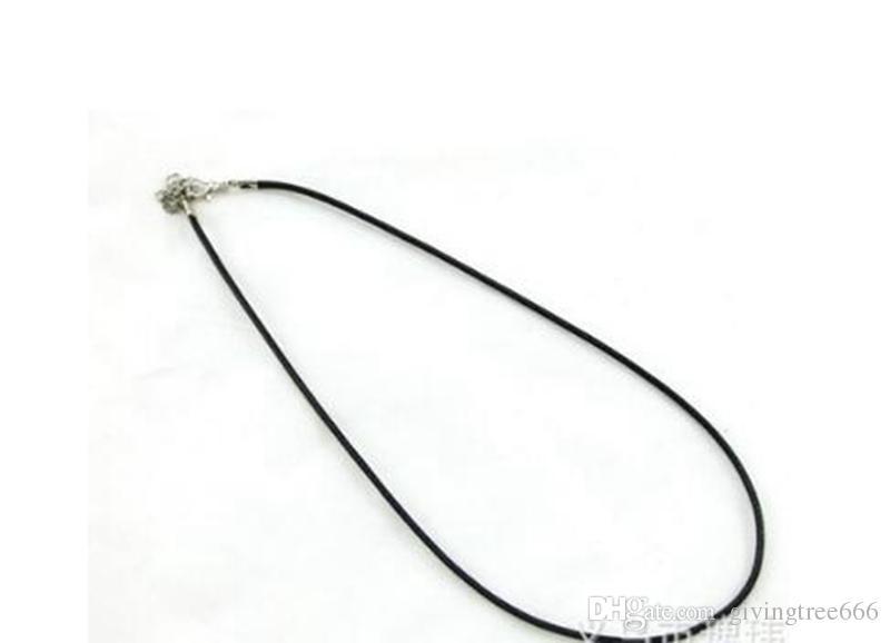 Epack gratuit 1.5mm Chaînes de cire noire en cuir Collier de serpent Perles Cordon Cordon Corde 45cm + 5cm Chaîne Extender avec fermoir mousqueton DIY