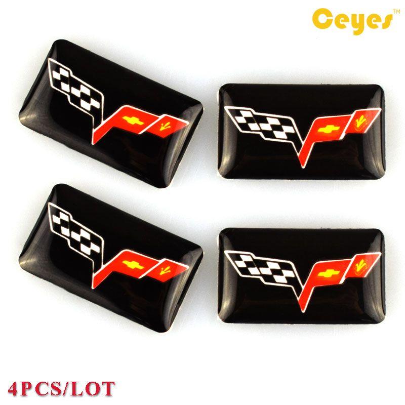 Epoxy car logo sticker for Corvette c5 c6 c7 guitar Logo Badge Sticker Car Plastic Drop Stickers Car Styling Decoration Stickers