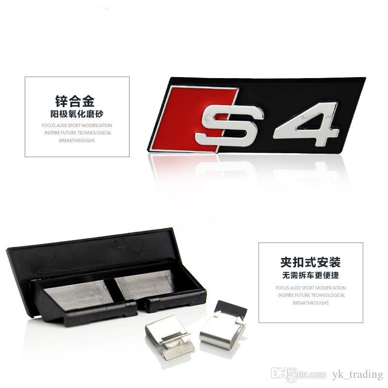 Автомобиль Стиль Audi Bonnet Hood Гриль аксессуары 3D S3 S4 S5 S6 S7 S8 Логотип автомобилей Стайлинг передняя Hood Grille герба Знак наклейки