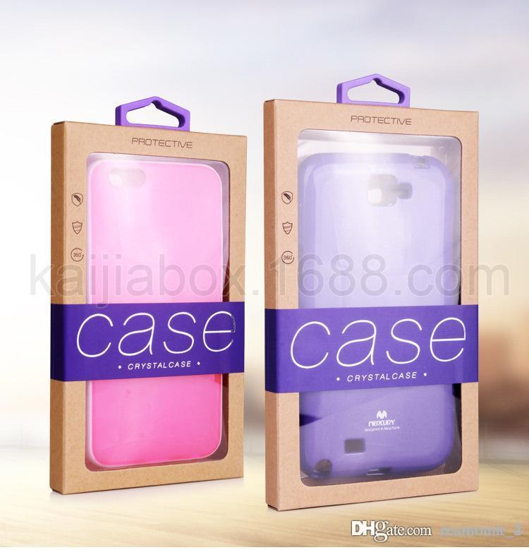 Wholesal High Quality Kraft Paper Packaging Box for Phone Case with Sticker for iPhone 5 6 7 7 plus