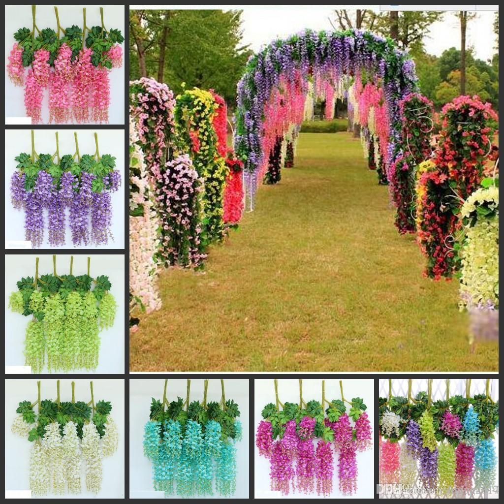 Upscale Artificial Bulk Silk Flowers Bush Wisteria Garland Hanging