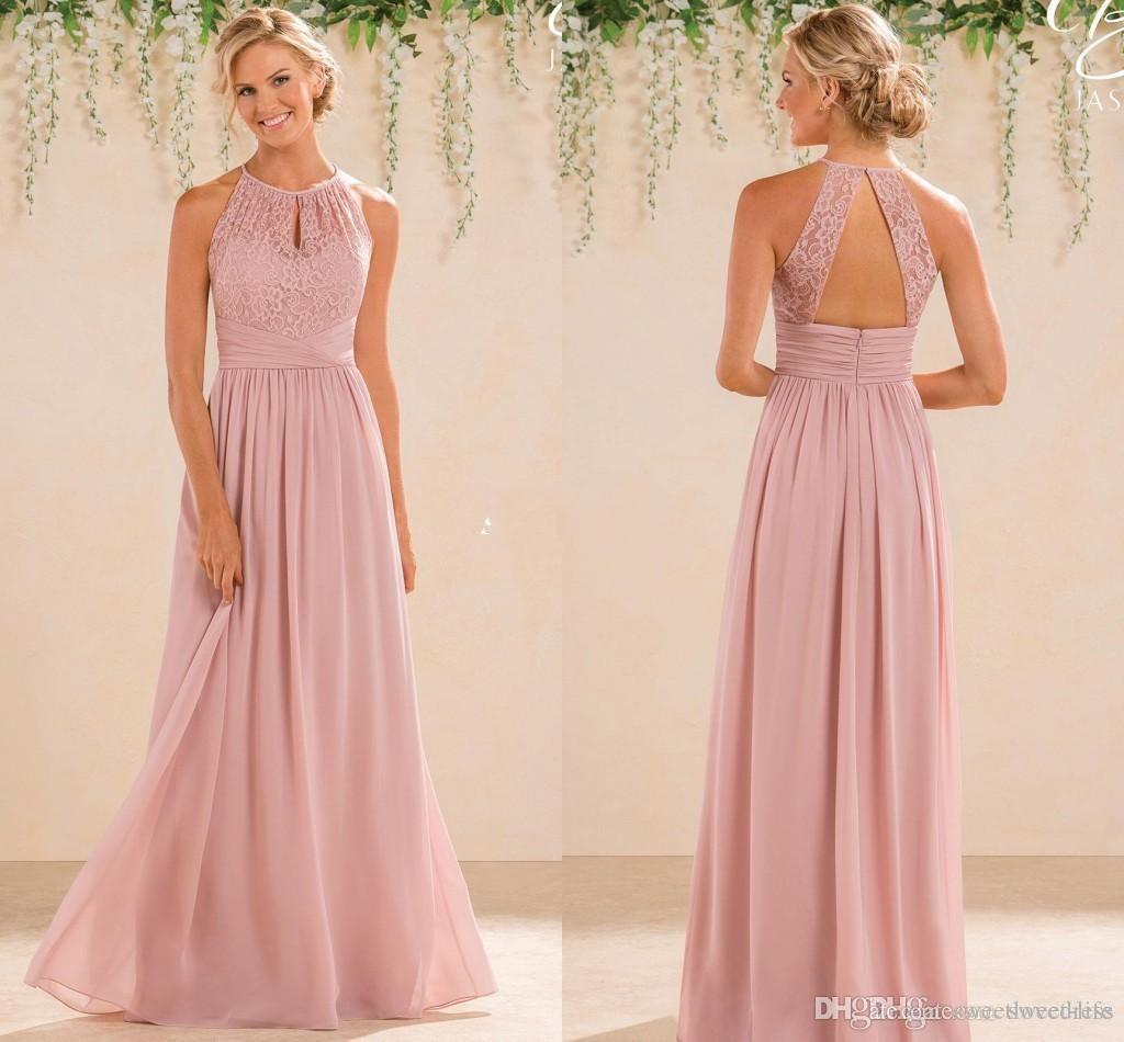 Compre 2017 Barato Una Línea De Encaje Gasa Vestidos De Dama De ...