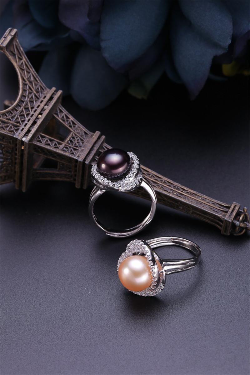 Retro Design Natural Freshwater Pearl Ring Real Genuine Cultured Pearl Ring Jewelry 925 Silver Pearl Rings Adjustable Opening